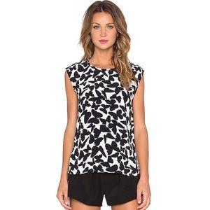 Kate spade black white butterfly crepe blouse M